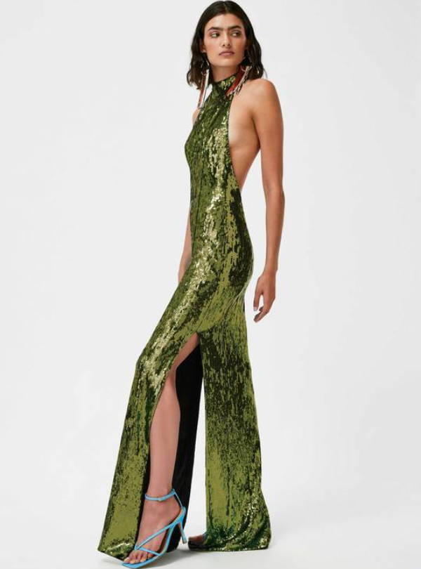 Galvan London High Neck Backless Sequin Green Dress