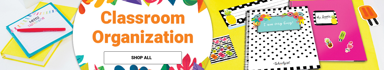 Classroom Organization banner with School Girl Style items