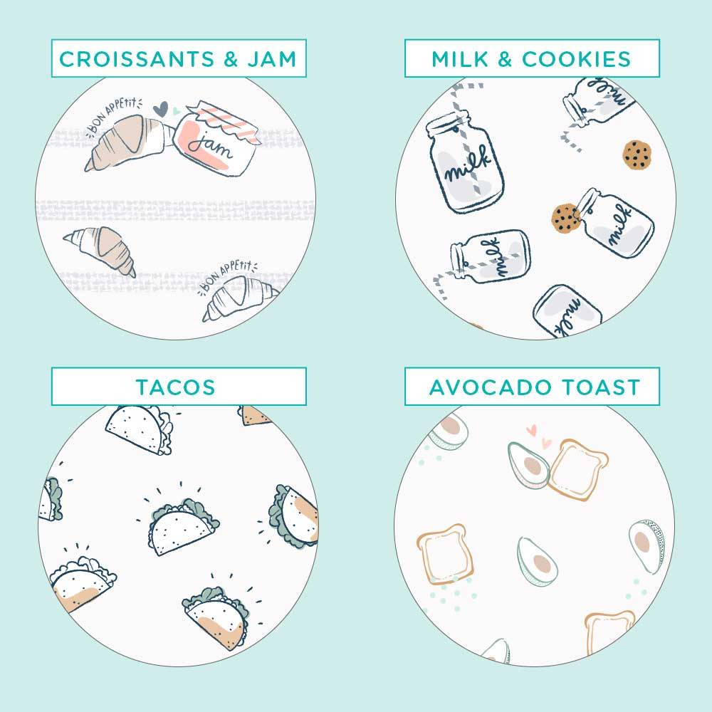 Pampers Pure Protection Croissants and Jam, Milk and Cookies, Tacos, and Avocado Toast Prints