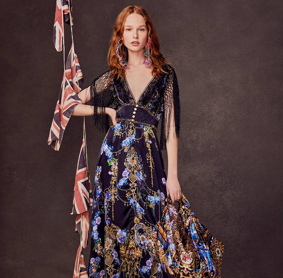 CAMILLA Black dress with black lace detailing and blue flowers