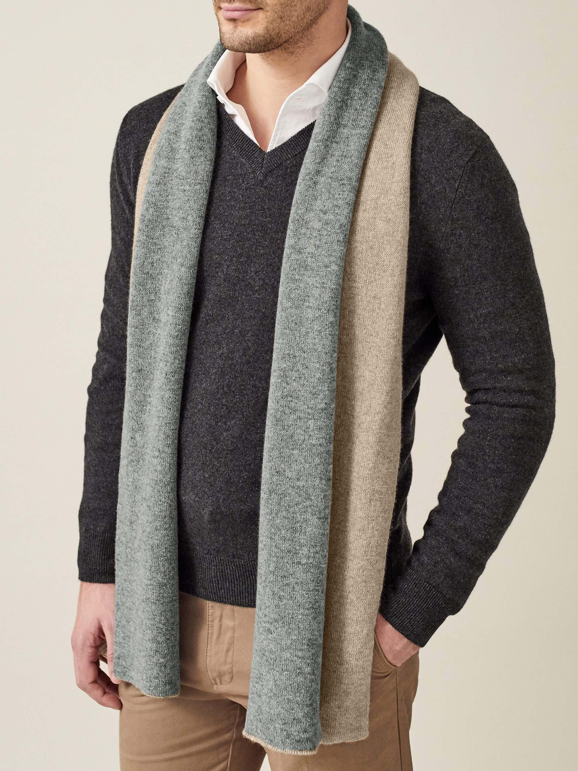 Luca Faloni Double-Faced pure cashmere scarf Made in Italy