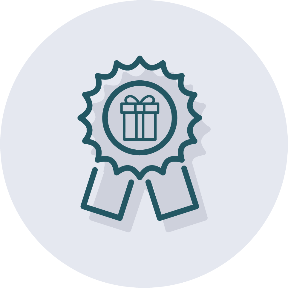 Icon of a gift for employee recognition.