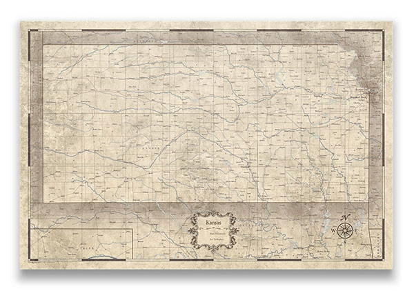Kansas Push pin travel map rustic vintage