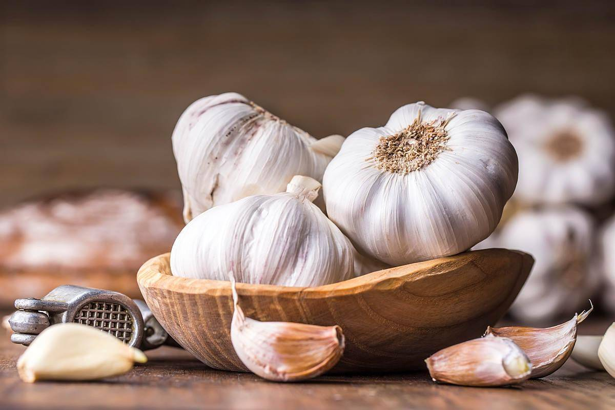 Garlic Cloves and Bulb in vintage wooden bowl | Foods For Sinus Health & Ways To Relieve Infection | foods good for sinus congestion