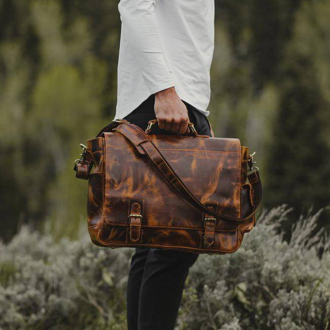 Men's Buffalo Leather Messenger Bag 15 Inch Laptops - Vintage Satchel
