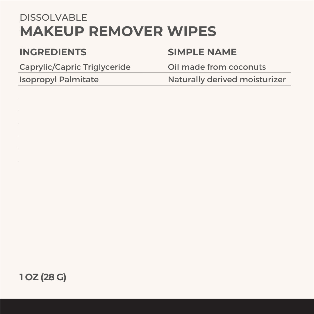 Each & Every Makeup Remover Wipes contain just 2 simple, safe ingredients - Coconut Oil and Isopropyl Palmitate (a naturally derived moisturizer)