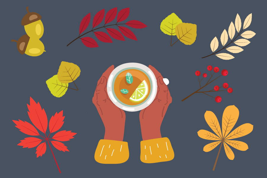 vector image of fall leaves and hands around a mug