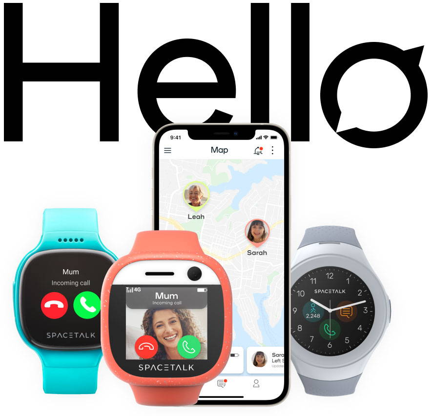 Three smartwatches with colourful straps are placed next to a phone showing how the app can interact with the devices.