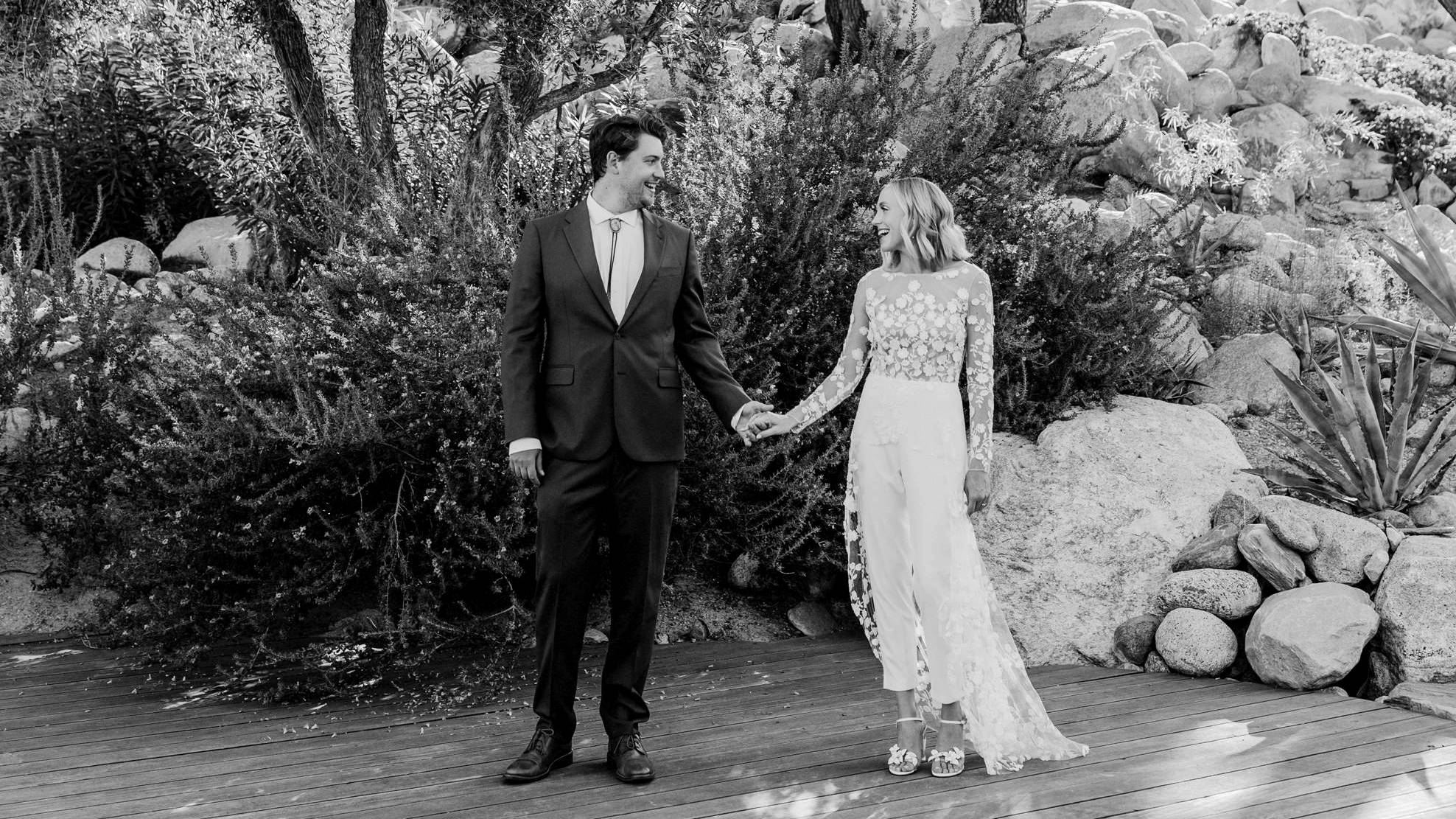 Camilla Gabrieli Real wedding couple Palm Springs Frederick Loewe Estate floral block heels