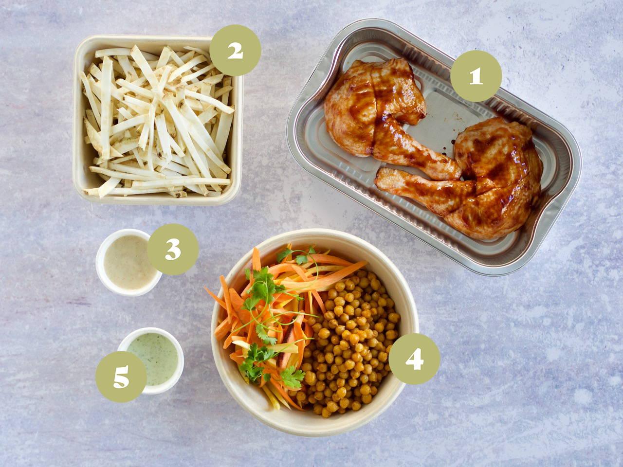 Opskrift og vejledning til Barbecue kylling med cremede grøntsager og grov salat med dagens dressing