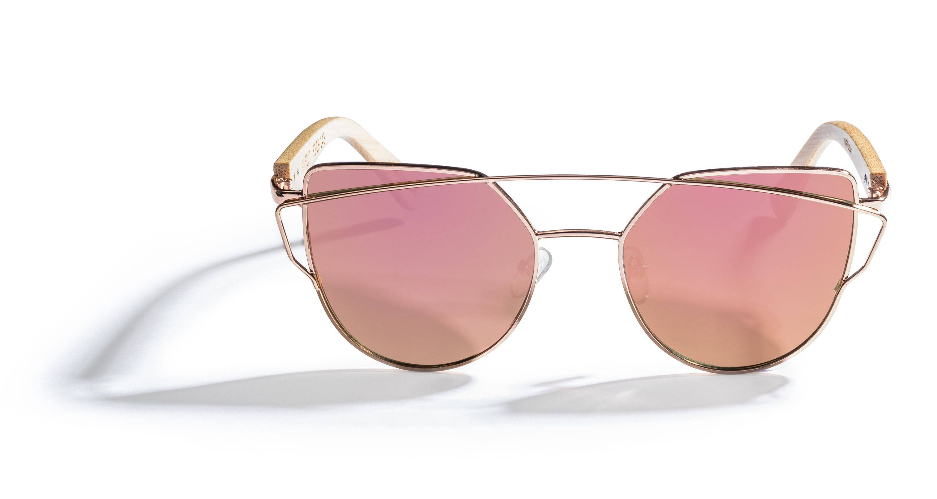 Kraywoods Golden Sun Kiss, Flashy Sunglasses made from Bamboo wood with 100% UV Protection Rose Gold Lenses