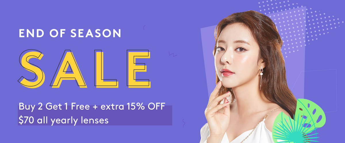 End of Season Sale: Buy 2 Get 1 Free + Extra 15% OFF $70 on Yearly Color Contacts!