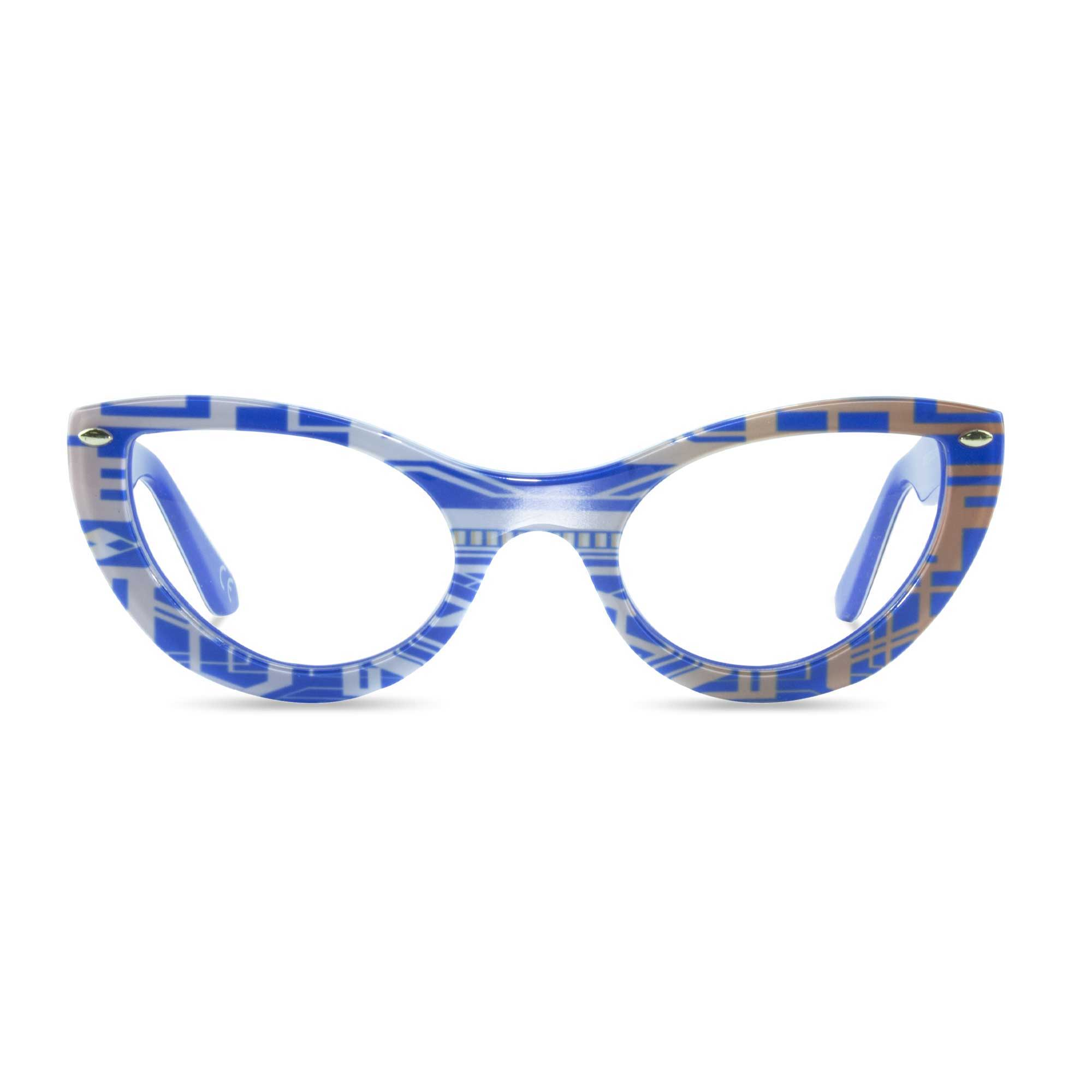 Joiuss gatsby blue & gold cat eye glasses