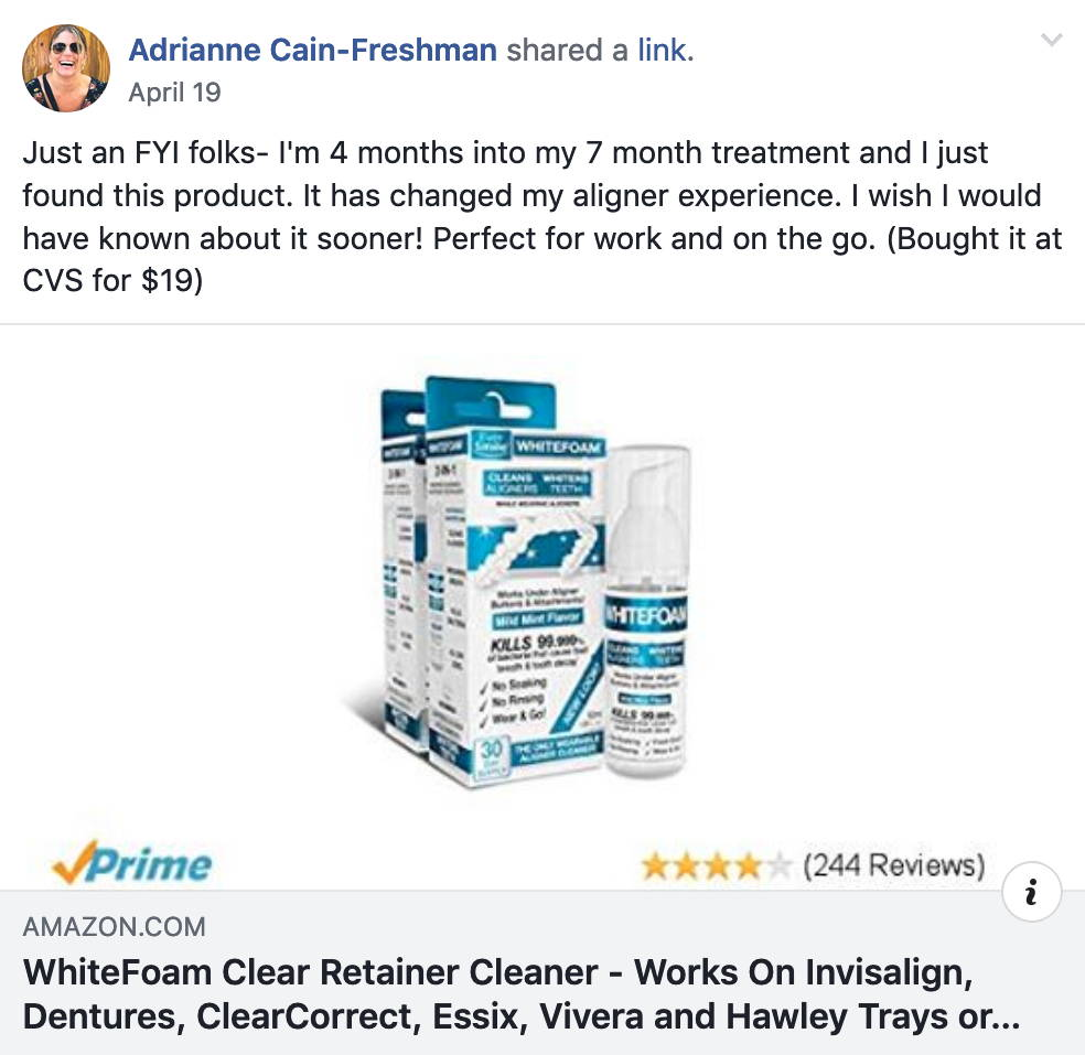 A screenshot of a Facebook post talking about EverSmile WhiteFoam and a picture of the Amazon listing for EverSmile WhiteFoam