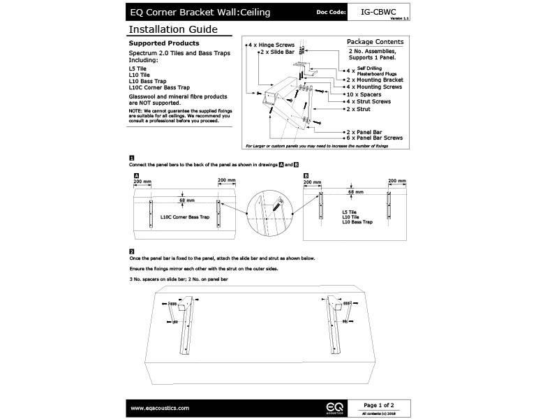 EQ Brackets Wall - Ceiling Installation Guide