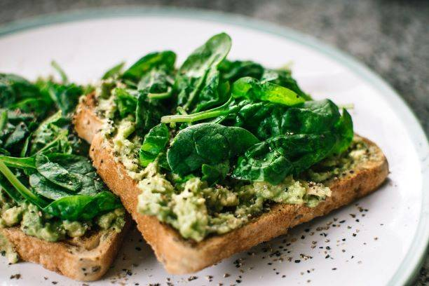 Spinach And Avocado On Brown Bread