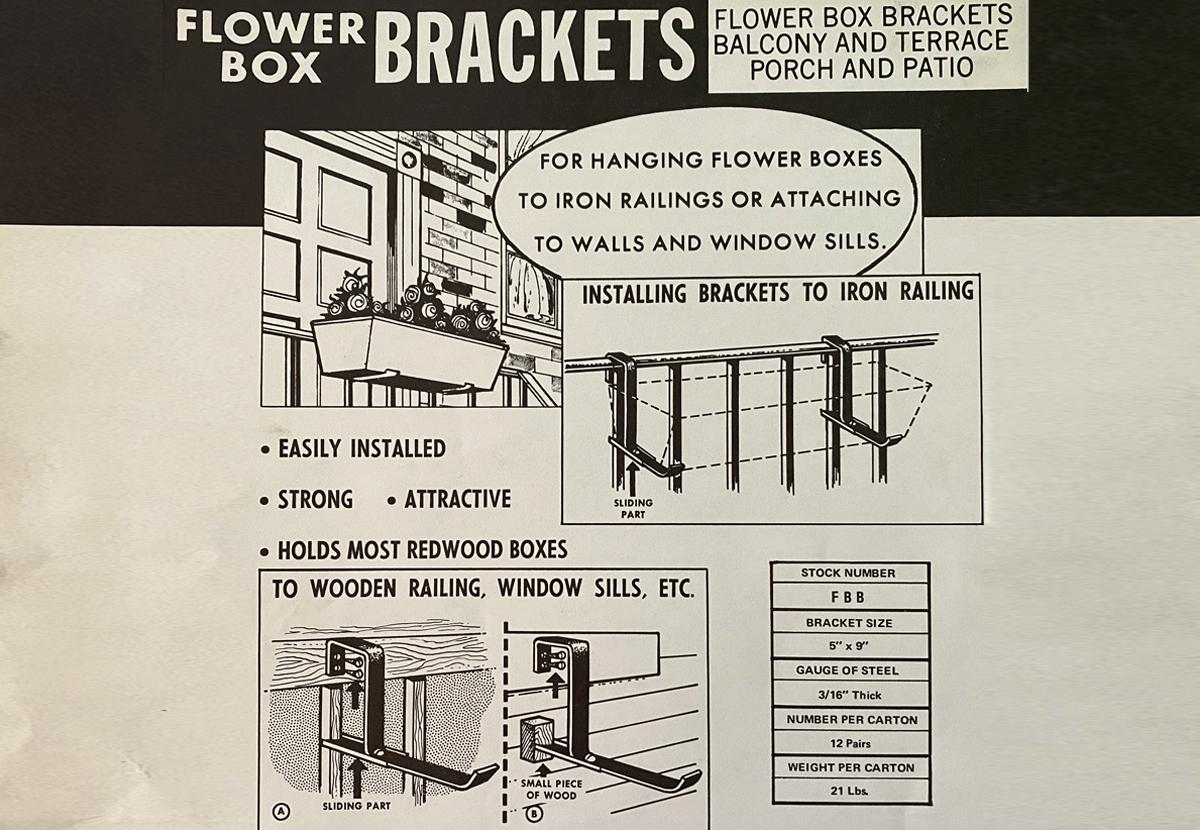 Document highlighting introduction of flower box railing brackets