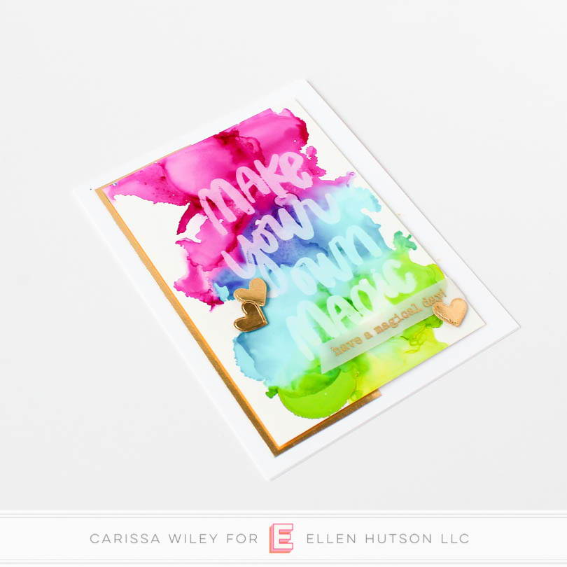 Rainbow and gold alcohol lift ink card.