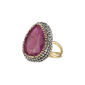 SORU JEWELLERY RUBY RING, SORU RED RUBY GEMSTONE STATEMENT RING, GOLD AND RED RING