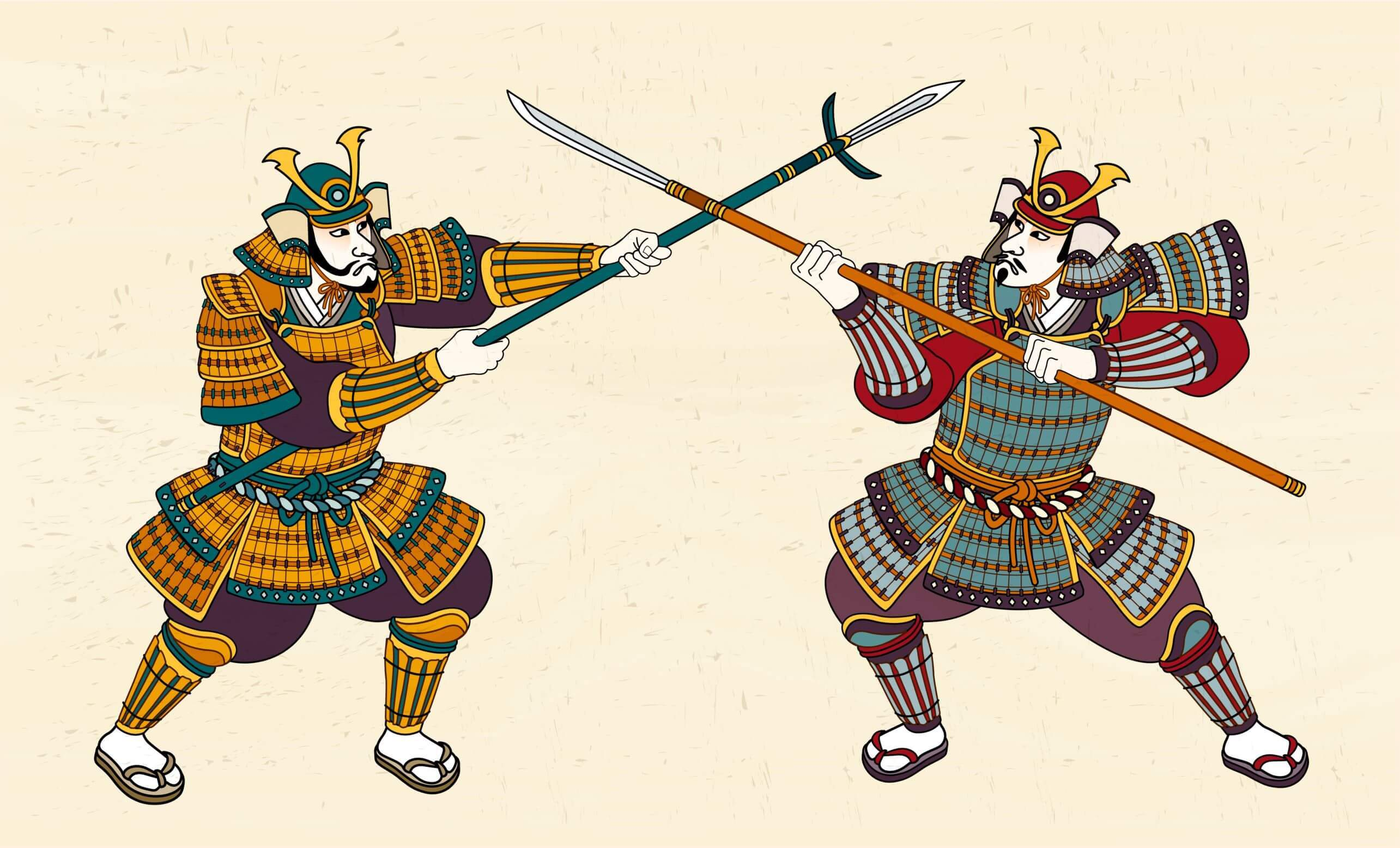 Two samurai fighting with each other with spears