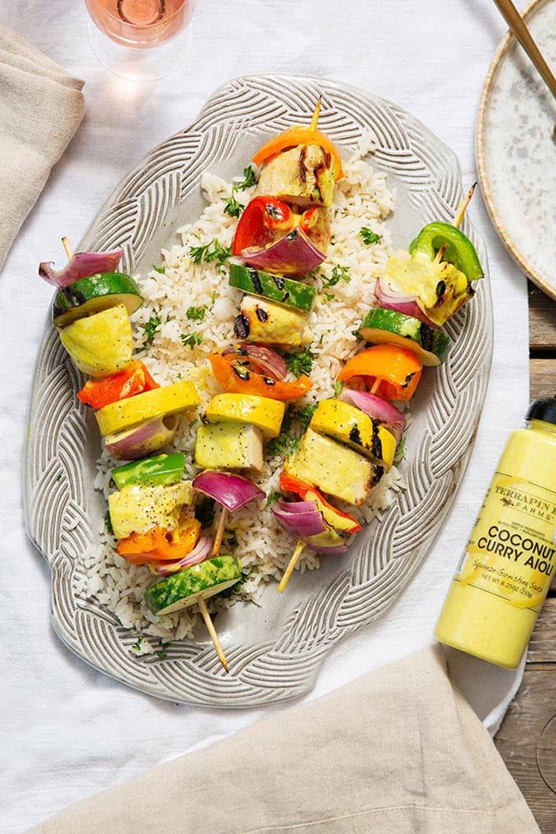 The Nut House Coconut Curry Kebabs on the Grill