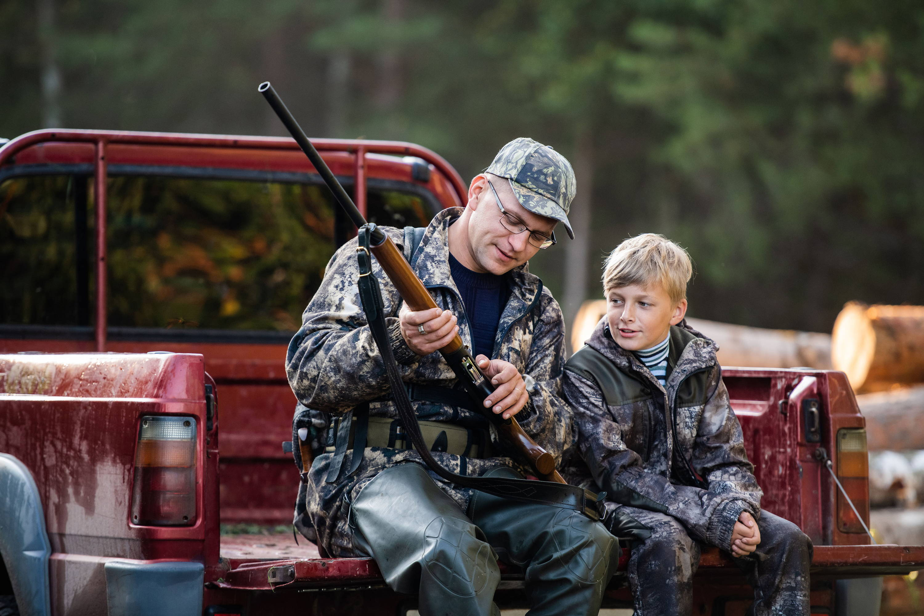 Father and Son with Shotgun