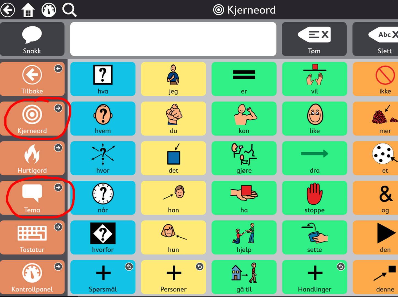 ASK-appen Snap Core First viser kjerneord og temaer
