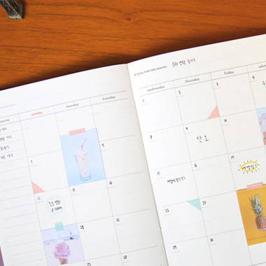 Opens flat, 100gsm paper - Second Mansion Moon shine dateless weekly diary planner