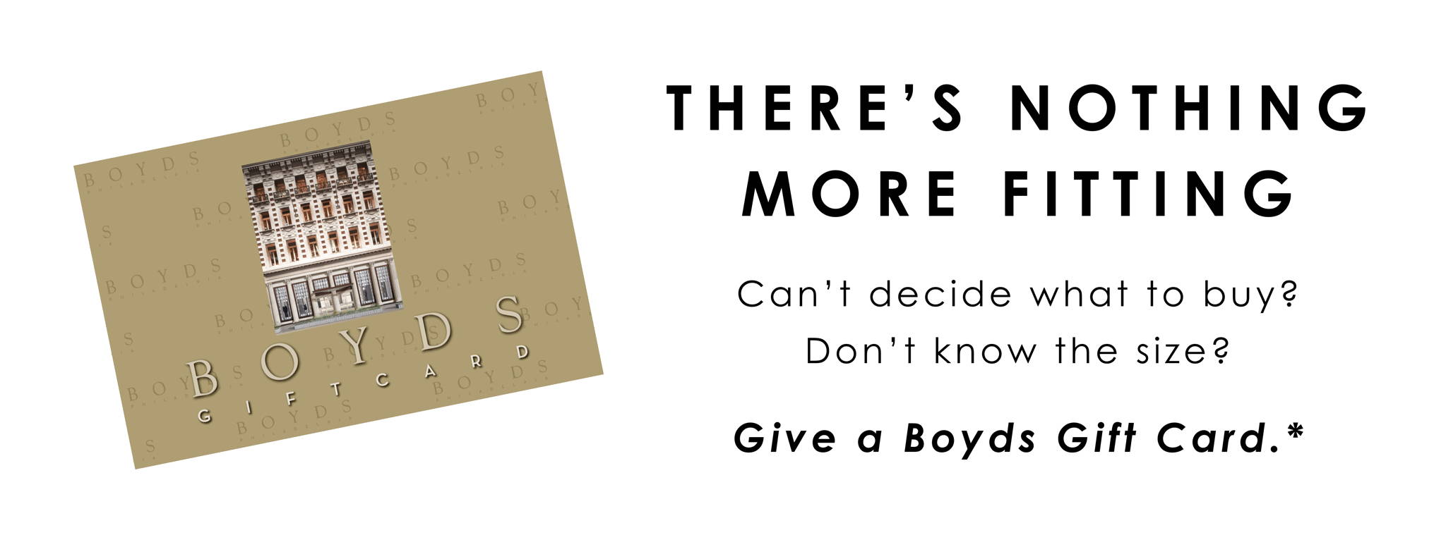 Taupe gift card with Boyds exterior and logo.