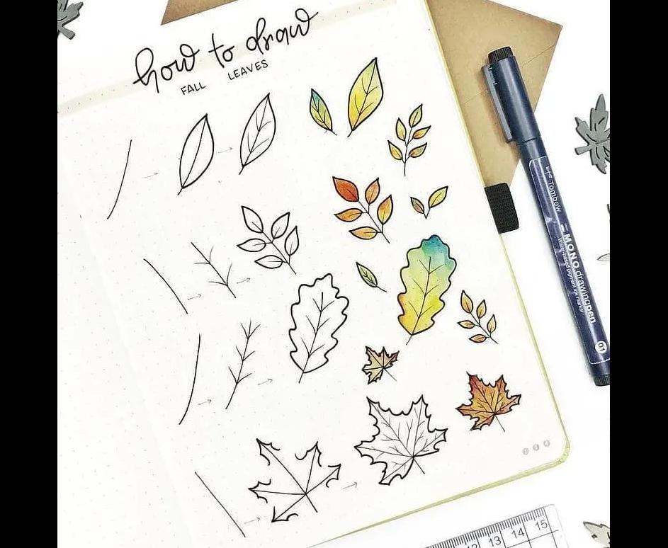 Vẽ nguệch ngoạc lá mùa thu