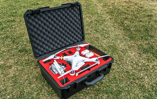 drone in case with protective foam packaging