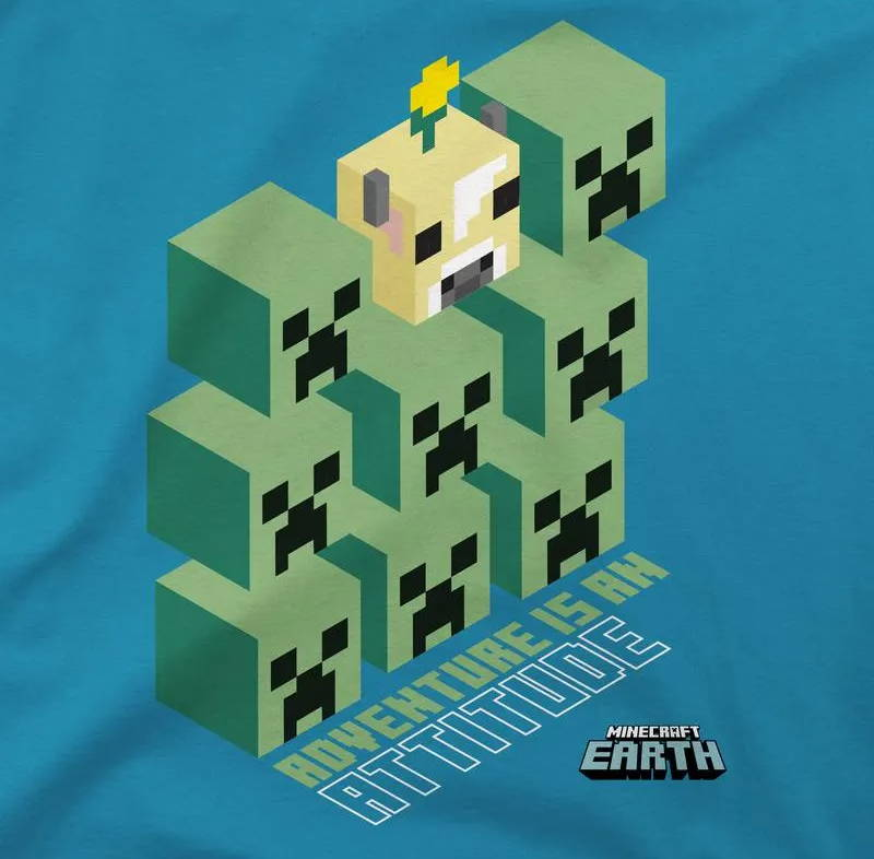 Design of the Minecraft Earth Creeper Stackers Youth Tee