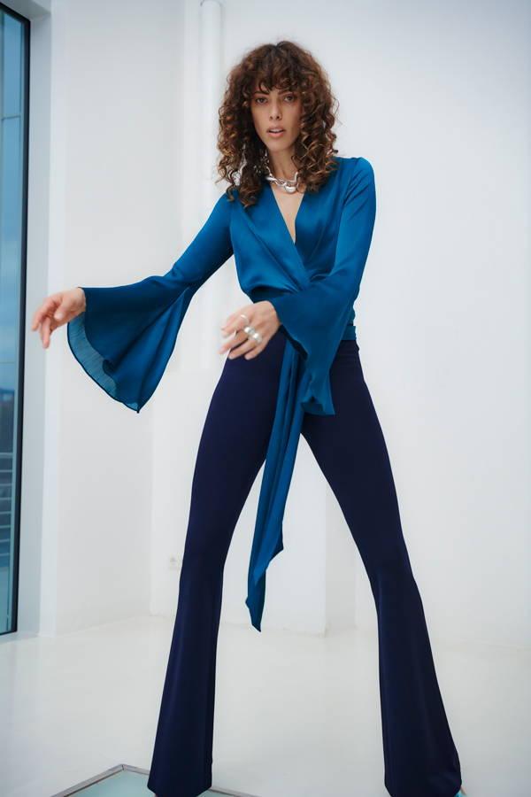 Galvan London Long Sleeves Wrap blue Top