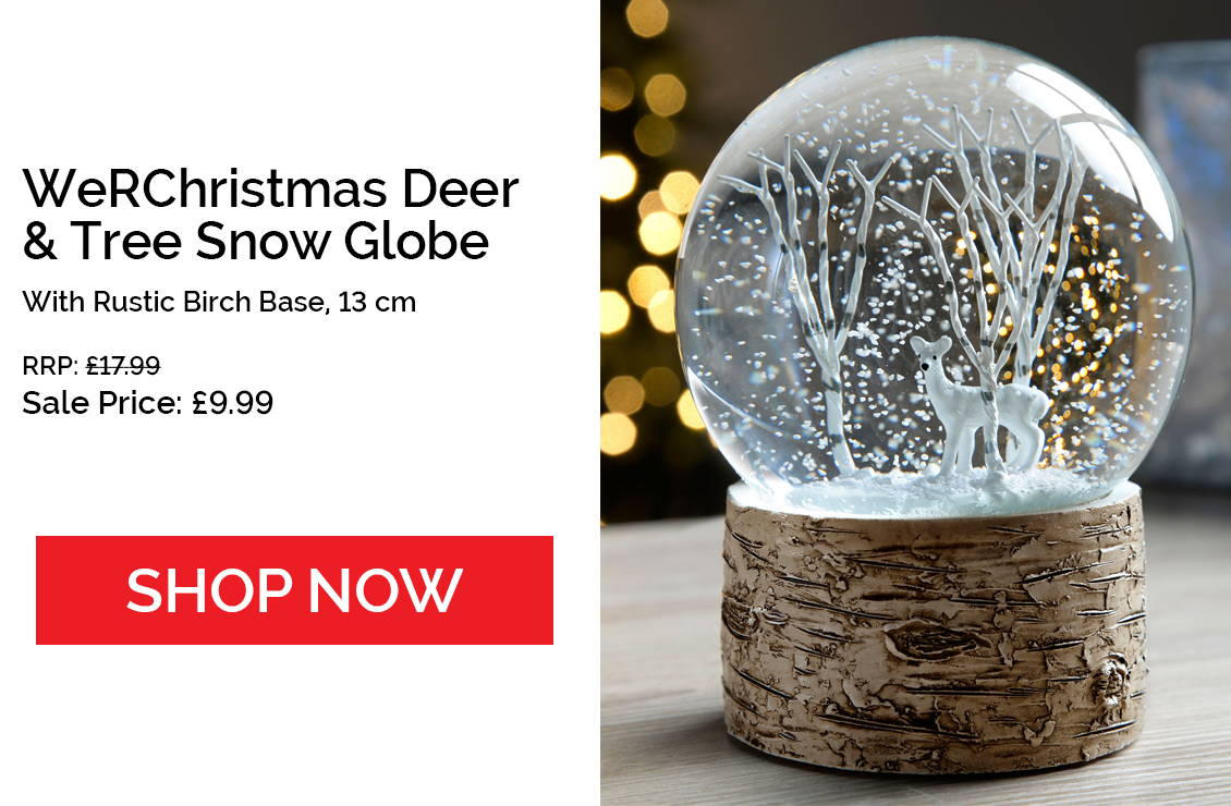 Deer and Birch Tree Christmas Snow Globe