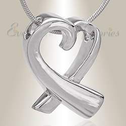 Silver Folded Heart Memorial Jewelry