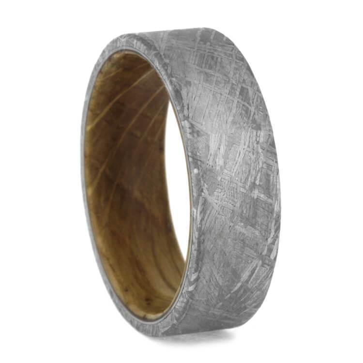 Meteorite Ring with Whiskey Barrel Wood Sleeve