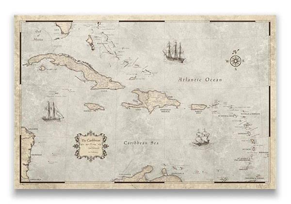 Caribbean Map Pin Board Rustic Vintage