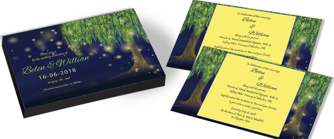 Couple picture on Tree theme Wedding Invitation