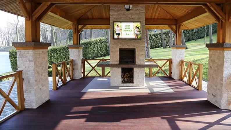 The TV Shield PRO outdoor tv enclosure at state park lake