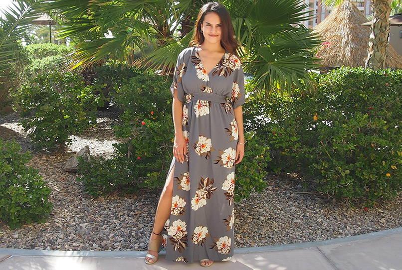 Light Up The Room Faye Grey Floral Print Maxi Dress