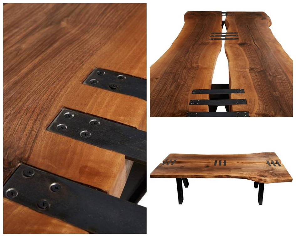 Naturalist Stitch Live Edge Dining Table Details