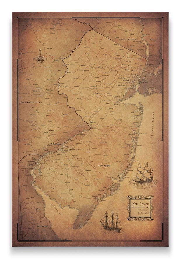 New Jersey Push pin travel map golden aged