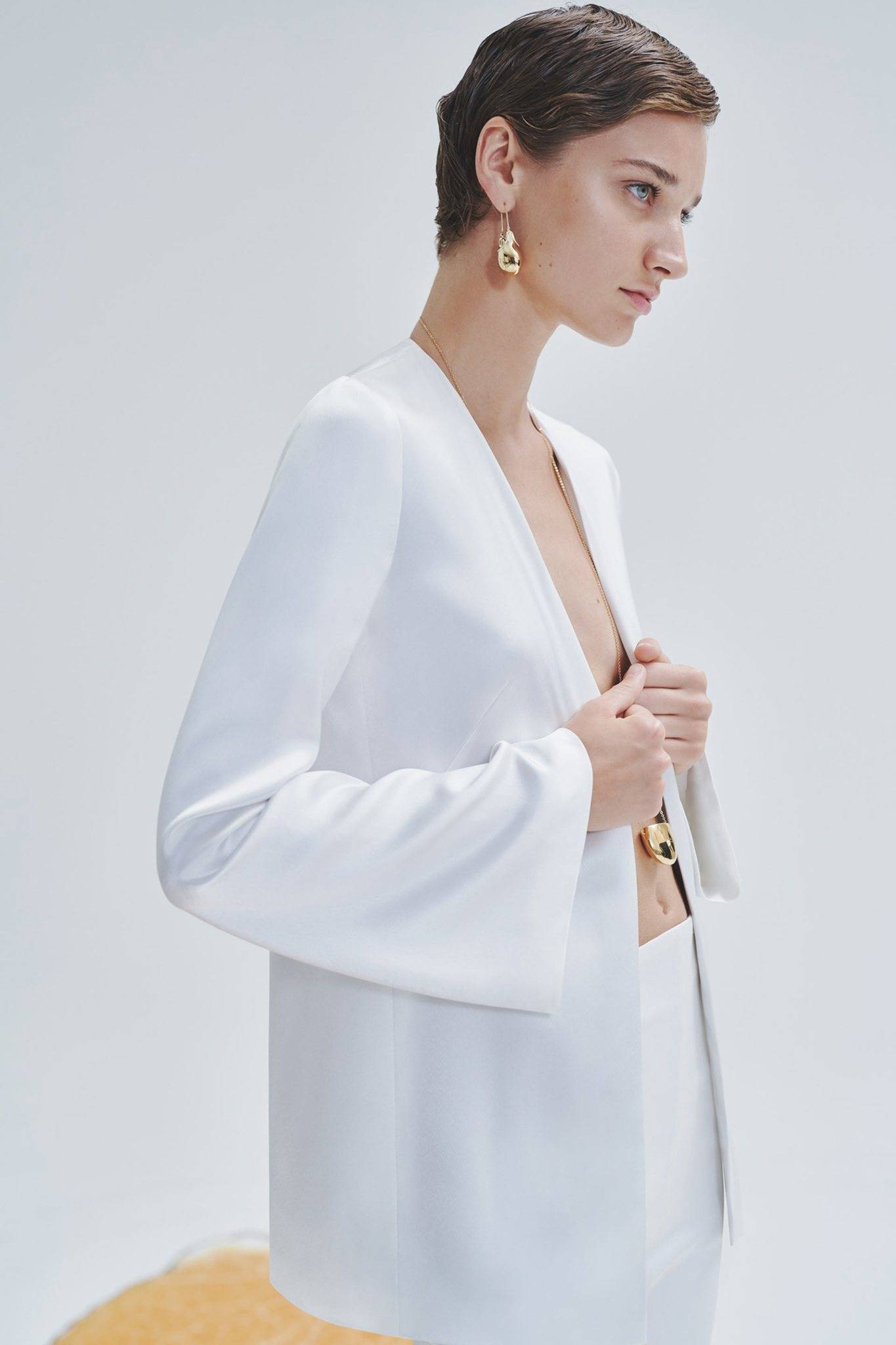 Galvan London Satin Evening White Bridal Jacket