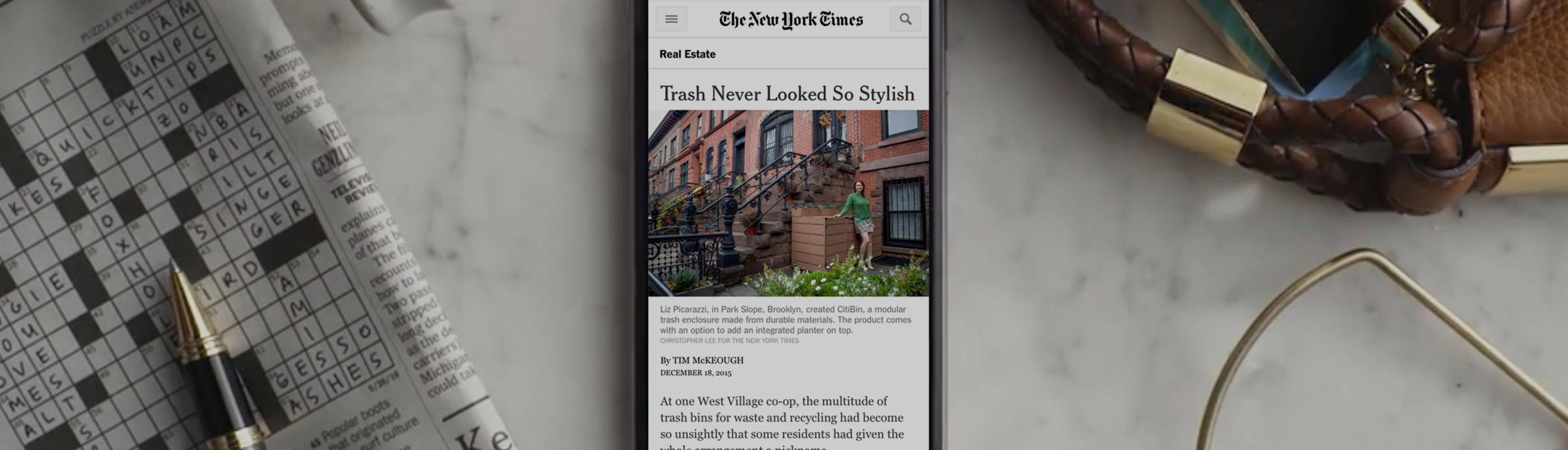 citibin trash garbage enclosure parcel bin new york times nyt