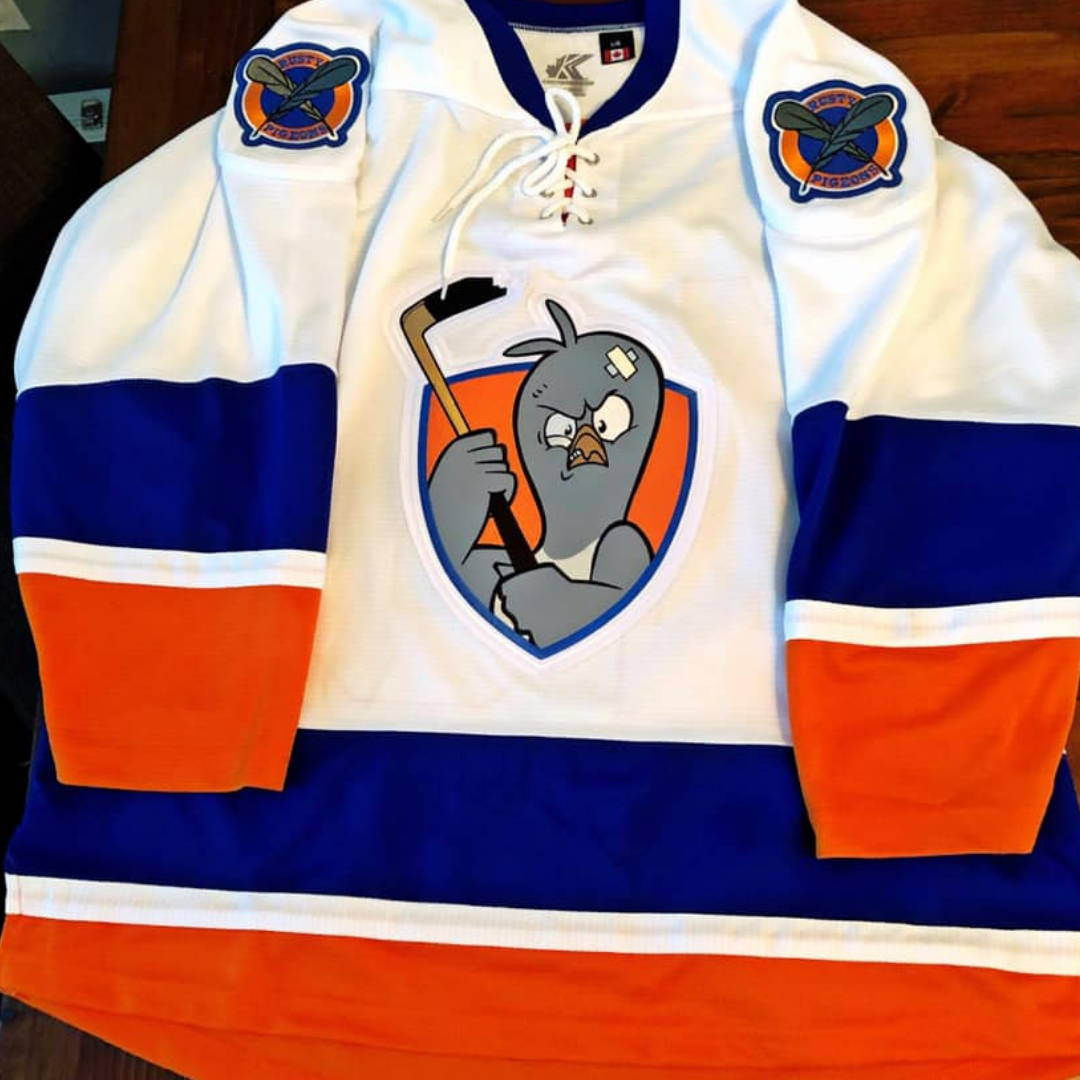 Embroidered Twill Custom Hockey Jerseys Rusty Pigeons