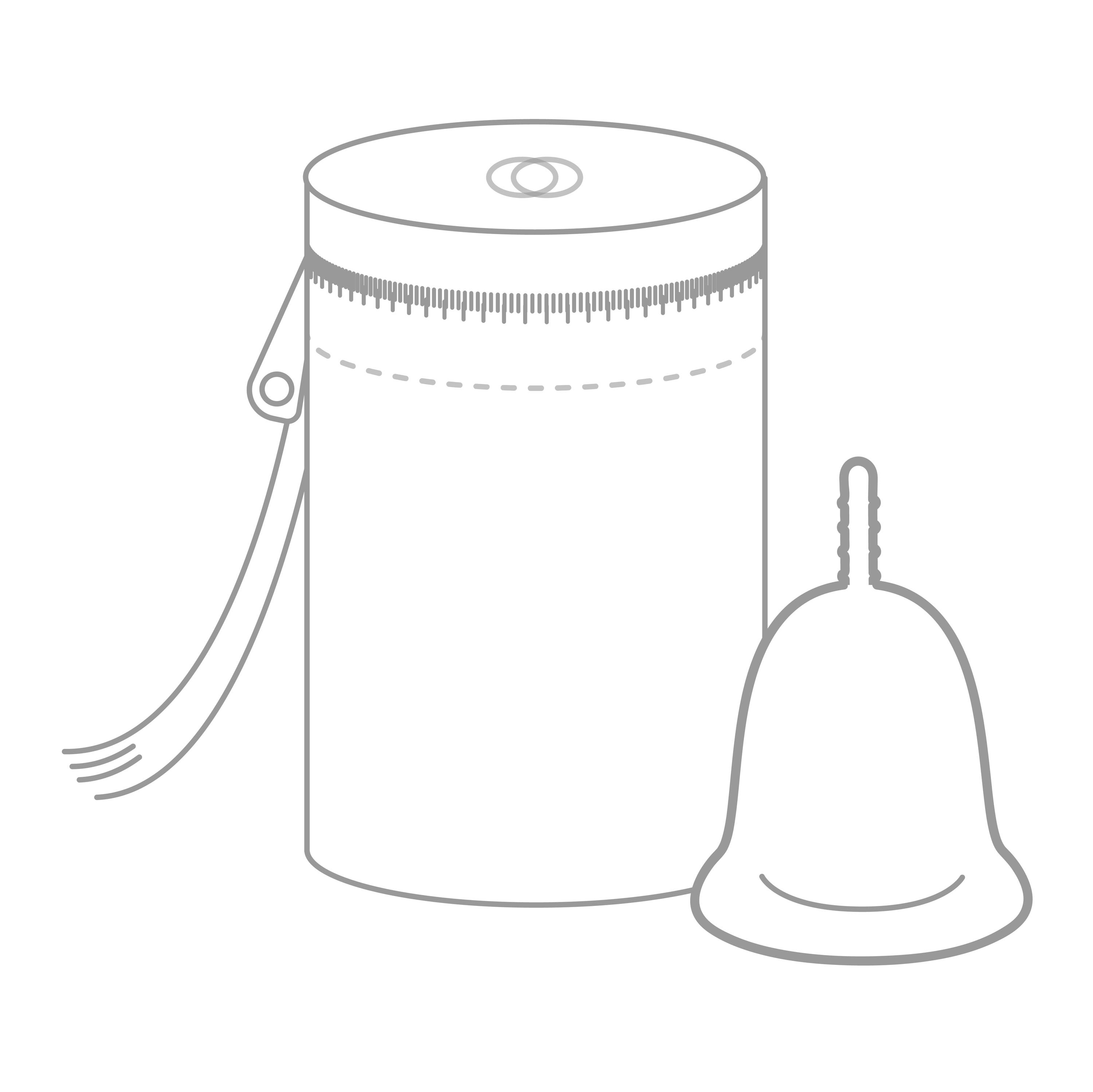 An animated Cora menstrual cup resting next to a period cup carrying and storage case.
