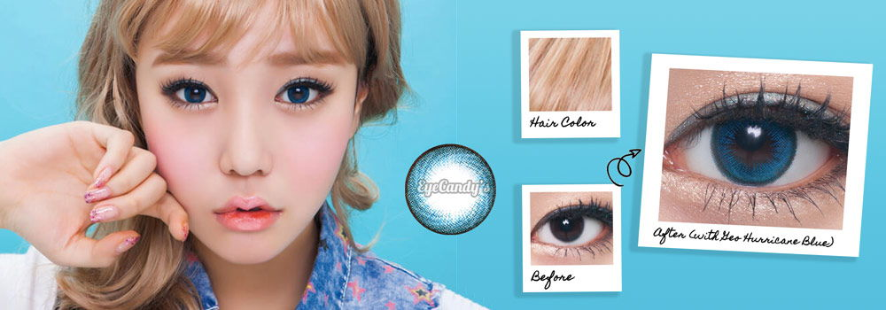Blue color contact lenses for dark eyes. They go great with blonde hair.