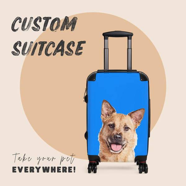 Custom dog portrait on suitcase