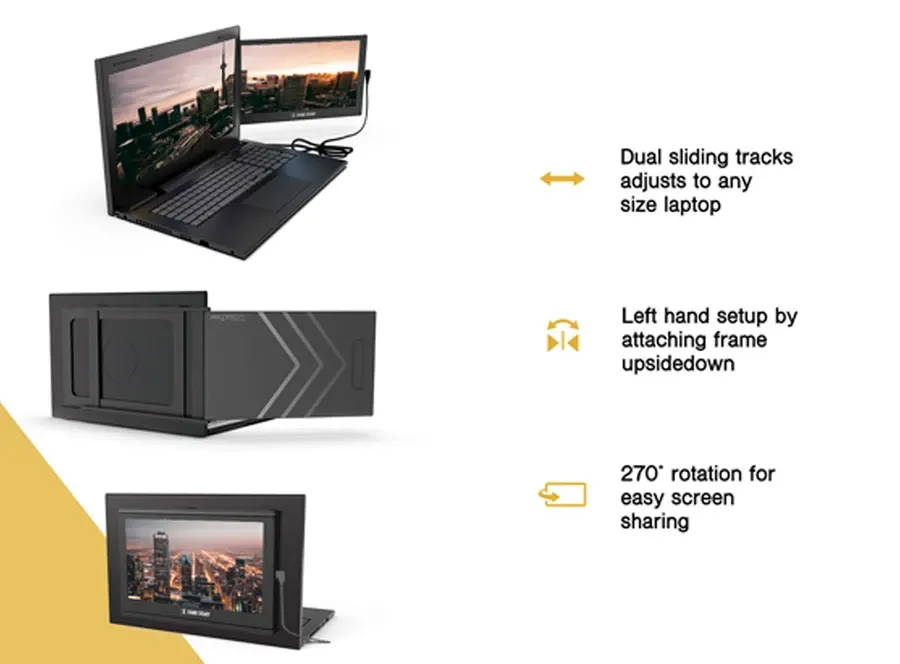 Unique features of the SideTrak dual screen monitor for laptop