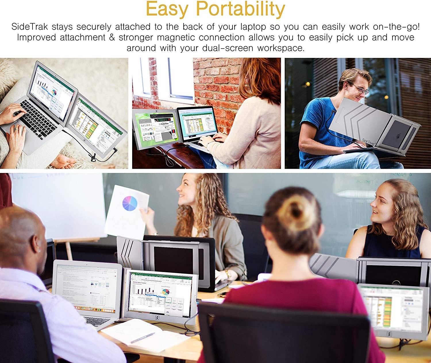 Easy portability with sidetrack second screen monitor
